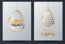 Gold easter eggs. Caed of golden egg with dot patterns and lettering on a light background for design for cards, posters, invitations for Easter