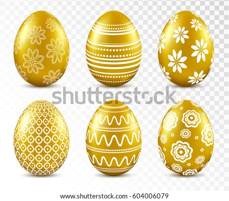 gold easter eggs with patten