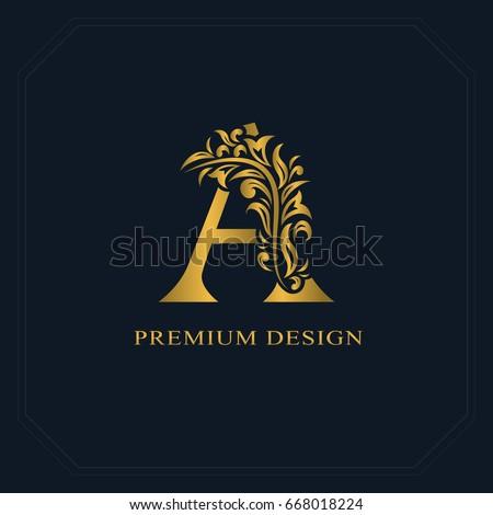 Gold Elegant letter A. Graceful style. Calligraphic beautiful logo. Vintage drawn emblem for book design, brand name, business card, Restaurant, Boutique, Hotel. Vector illustration
