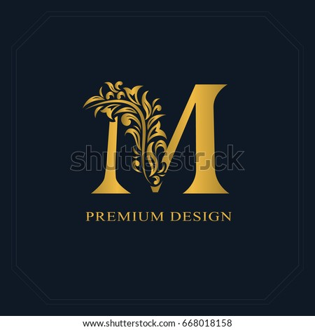 Gold Elegant letter M. Graceful style. Calligraphic beautiful logo. Vintage drawn emblem for book design, brand name, business card, Restaurant, Boutique, Hotel. Vector illustration