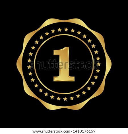 Gold emblem with number 1. 1 years anniversary with golden font. 1 years anniversary celebration simple logo. Luxury gold emblem,label,seal,sticker or tag. Can be used for celebrations, anniversari