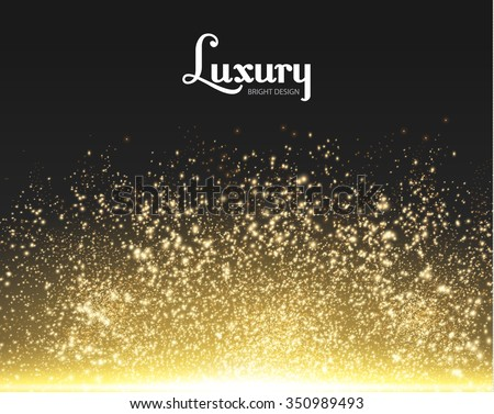 Gold Explosion on Black Background. Shining Motion & Luxury Design. Holiday, Nightclub  & Party Card. Vector illustration