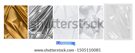 Gold fabric, silver foil, white paper, transparent plastic film. 3d realistic textures, vector set