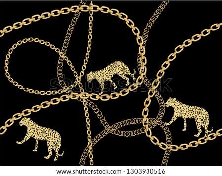 gold fashion chain print