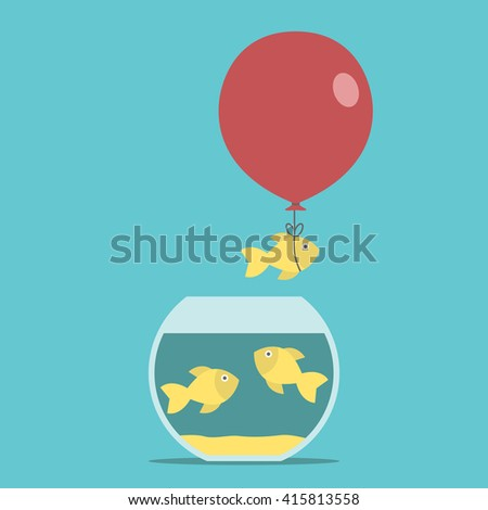 gold fish and red balloon