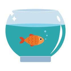 Gold fish in aquarium vector illustration flat design.