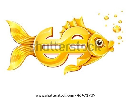 gold fish in form of dollar currency sign - vector illustration, isolated on white