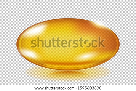 Gold fish oil pill isolated on transparent. Oil capsule oval form. Cosmetic capsule of vitamin E, A or omega 3 oil. Omega-3 gel capsule.