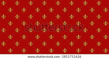 Gold Fleur De Lis luxury pattern. Royal ornamental red background. Photo stock ©