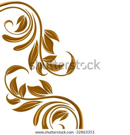 Free Vector on Gold Floral Border  Swirl Flower Stock Vector 32863351   Shutterstock