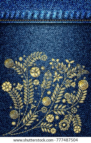 gold flower embroidery design