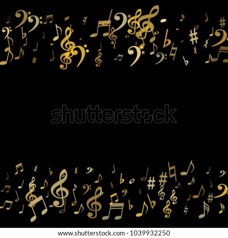 Gold flying musical notes border isolated on black backdrop. Cute musical notation symphony signs, notes for sound and tune music. Vector symbols border for melody recording, prints and back layers.