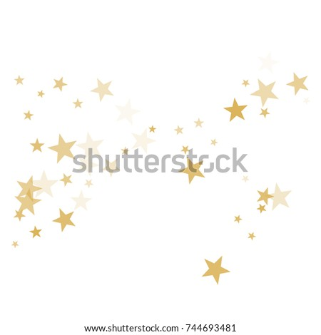 Gold flying stars confetti magic cosmic christmas vector, premium sparkles stardust background pattern. Holiday party decor, Christmas stars background vector, flying gold sparkles confetti on white.
