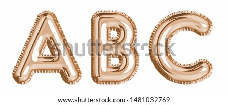 Gold  foil balloon alphabet set letter A, B, C  realistic 3d illustration metallic pink gold air balloon. Collection of balloon alphabet ready to use in headlines, greeting, celebration vector eps