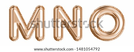 Gold  foil balloon alphabet set letter M, N, O  realistic 3d illustration metallic pink gold air balloon. Collection of balloon alphabet ready to use in headlines, greeting, celebration vector eps Сток-фото ©