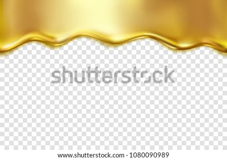 Gold foil drip isolated on transparent background. Golden water, bronze metal melt texture. Vector gold liquid smooth border template for your advertising design.