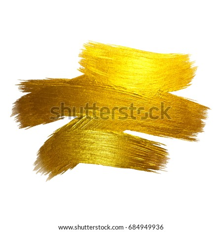 Gold Foil Vector Illustration. Watercolor Texture Paint Stain Abstract Shining Brush Stroke for you Amazing Design Project. White background