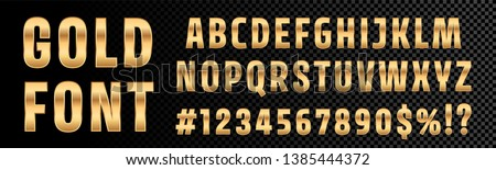 Gold font numbers and letters alphabet typography. Vector golden font type with 3d gold effect