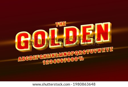 Gold font set collection, letters and numbers symbol. Vector illustration