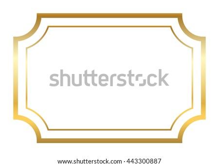 Beautiful Simple Golden Design Vintage Style Decorative Border Isolated On White