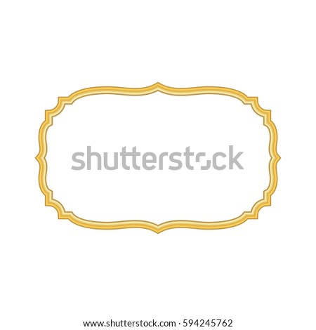 Gold frame. Beautiful simple golden design. Vintage style decorative border, isolated on white background. Deco elegant object. Empty copy space for decoration, photo, banner Vector illustration #594245762