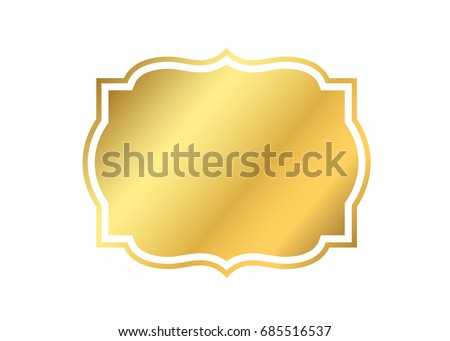 Gold Frame Beautiful Simple Golden Design Vintage Style Decorative Border Isolated White Background
