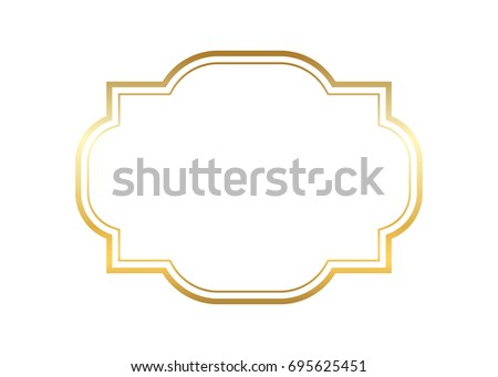 gold frame border vector.  Gold Gold Frame Beautiful Simple Golden Design Vintage Style Decorative Border  Isolated White Background With Frame Border Vector G