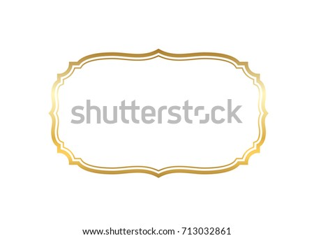 Gold frame. Beautiful simple golden design. Vintage style decorative border isolated white background. Elegant gold art frame. Empty copy space decoration, photo, banner Vector illustration #713032861