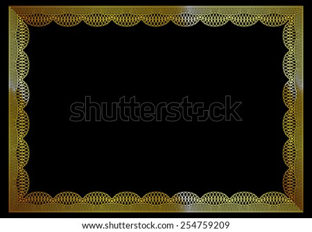 Gold frame certificate template with black background.