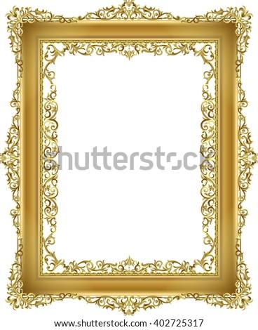 gold frame floral vector for