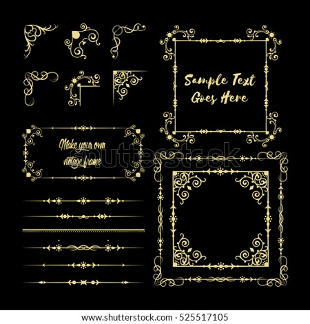 Gold frame made in vector. Unique ornamental decorative covers for greeting card, wedding invitation, save the date with space for your text. Vintage border, antique cover set (pack)