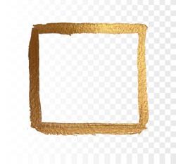 Gold frame paint brush vector texture. Brush stroke effect