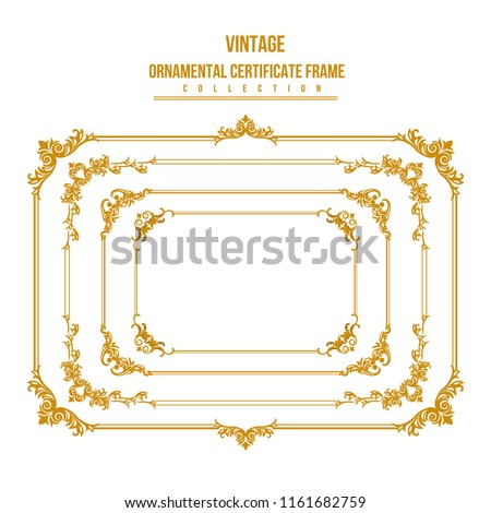gold frame. Set of gorgeous decorative frame. Vector illustration.