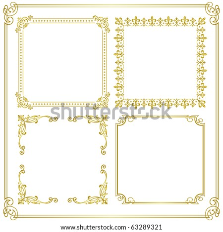 gold frame Set of gorgeous decorative frame Vector illustration