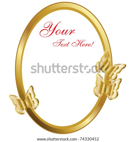 Gold frame with butterflies,Vector