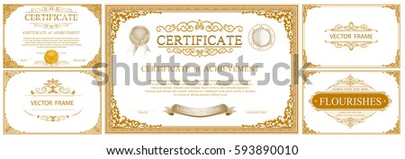 Gold frame with corner thailand line floral for picture, Vector design decoration pattern style. frames certificate border design is patterned Thai style diploma border design template, gold photo