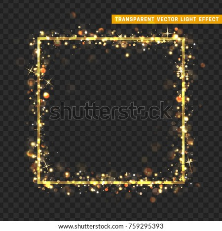 Gold frame with glowing lights and sparkle bokeh effects, isolated on transparent background. Shining golden rectangle. Luxury premium design template.