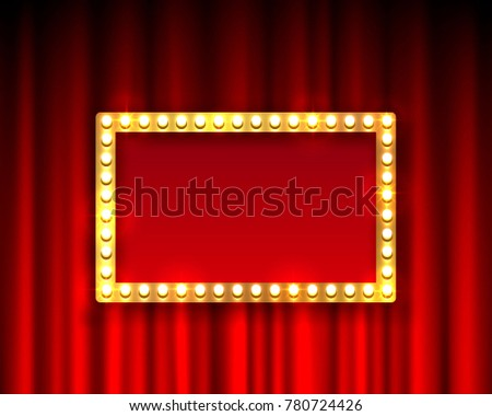 Gold frame with light bulbs on the background of the scene. Vector illustration