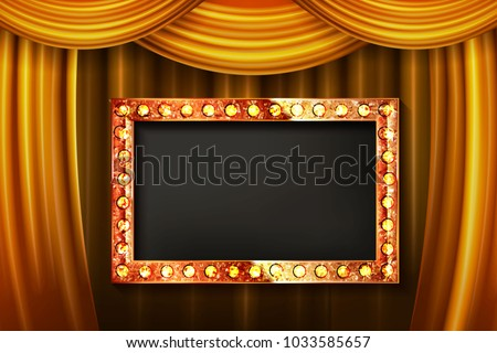 Gold frame with light bulbs on the background of the stage with a gold curtain Vector illustration #1033585657
