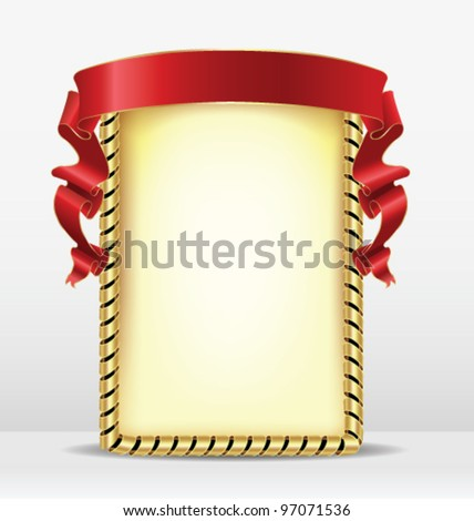 Gold frame with red satin ribbon