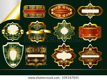 Gold-framed labels vector set