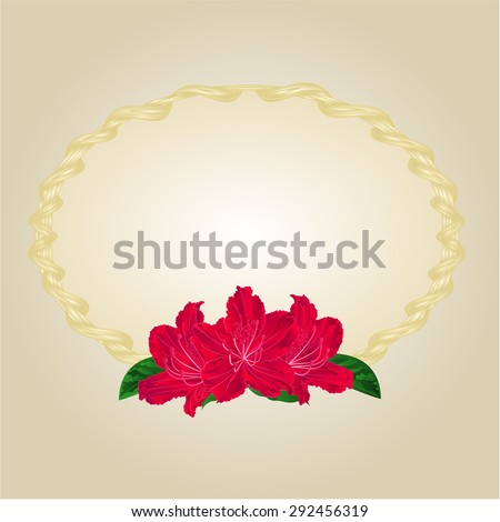 Gold frames Circle oval and rododendrony vector illustration Zdjęcia stock ©