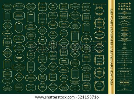Gold frames mega set. Calligraphic design elements. Dividers. Signboards. Labels. Crowns.