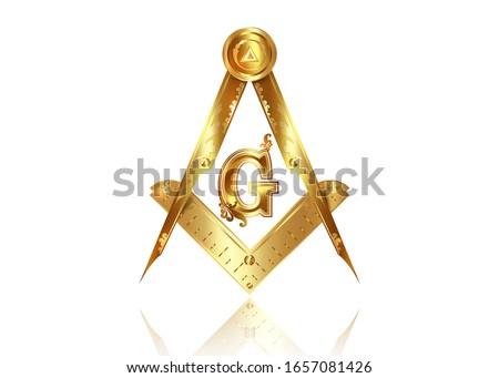 Gold freemasonry emblem - the masonic square and compass symbol. All seeing eye of god in sacred geometry triangle, masonry and illuminati symbol, golden logo design element. vector isolated on white Stock photo ©