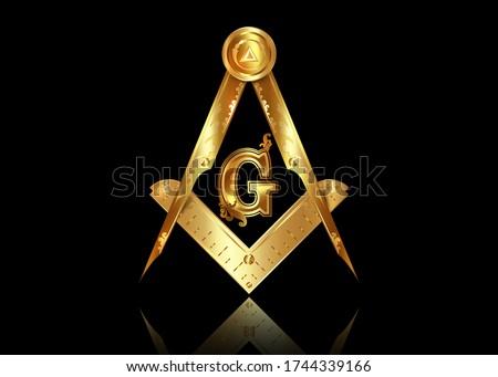 Gold freemasonry emblem - the masonic square and compass symbol. All seeing eye of god in sacred geometry triangle, masonry and illuminati symbol, golden logo design element. vector isolated on black Stock photo ©