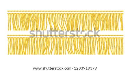 Gold fringe. Seamless decorative element. Textile border. Isolated white background. EPS10 vector illustration. Stockfoto ©