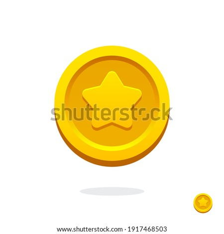 Gold game coin. Coin icon. Gold medal. Coin with the star. Graphic user interface design element. Gold star. Game coin. Money symbol. Game elements. Bank payment symbol. Game purchases. Financial.