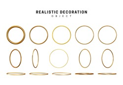Gold geometric shapes. Golden decorative design elements isolated on white background. bronze metallic silhouettes. 3d objects shaped yellow round rings of different thickness. vector illustration.