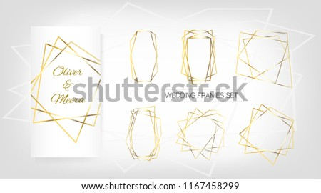 vector birthday new year gold geometric wedding invitation set of luxury frames vector border collection for birthday