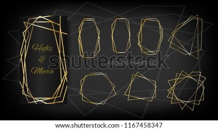gold geometric wedding invitation set of luxury frames vector border collection for birthday